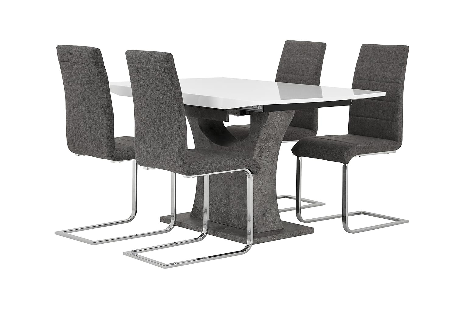ELLA Pöytä 140 Valkoinen/Betoni + 4 EMÅN Tuoli Harmaa