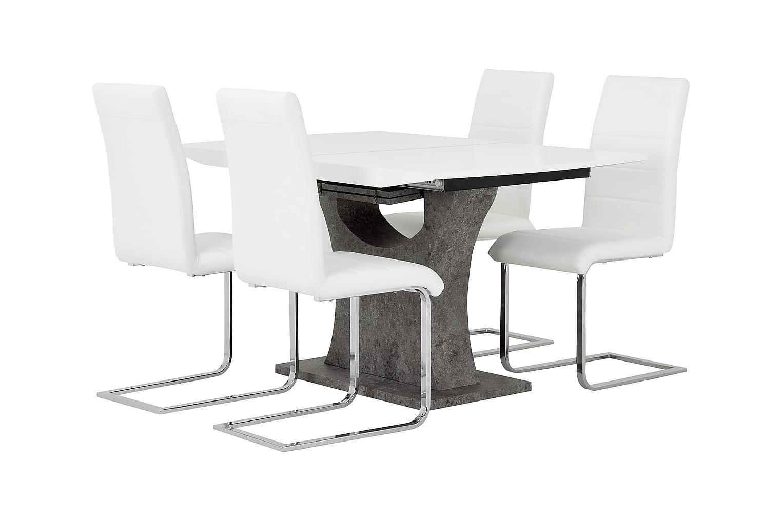 ELLA Pöytä 140 Valkoinen/Betoni + 4 EMÅN Tuoli Valkoinen