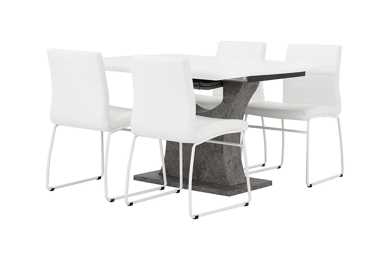 ELLA Pöytä 140 Valkoinen/Betoni + 4 FRIO Tuoli Valkoinen