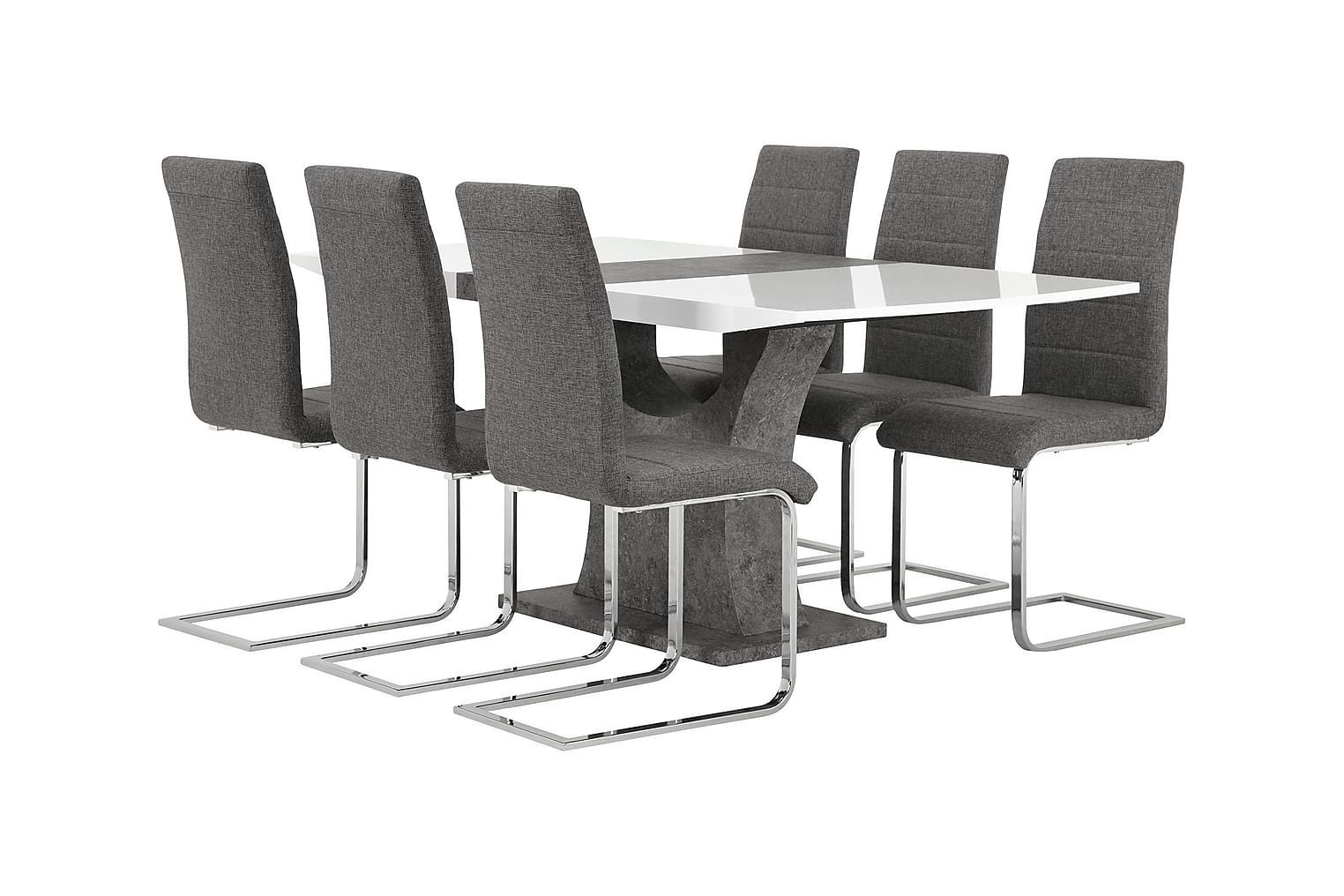 ELLA Pöytä 140 Valkoinen/Betoni + 6 EMÅN Tuoli Harmaa