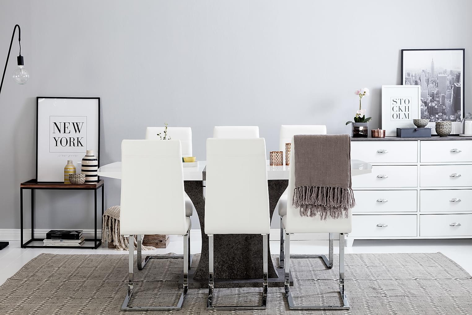 ELLA Pöytä 140 Valkoinen/Betoni + 6 EMÅN Tuoli Valkoinen