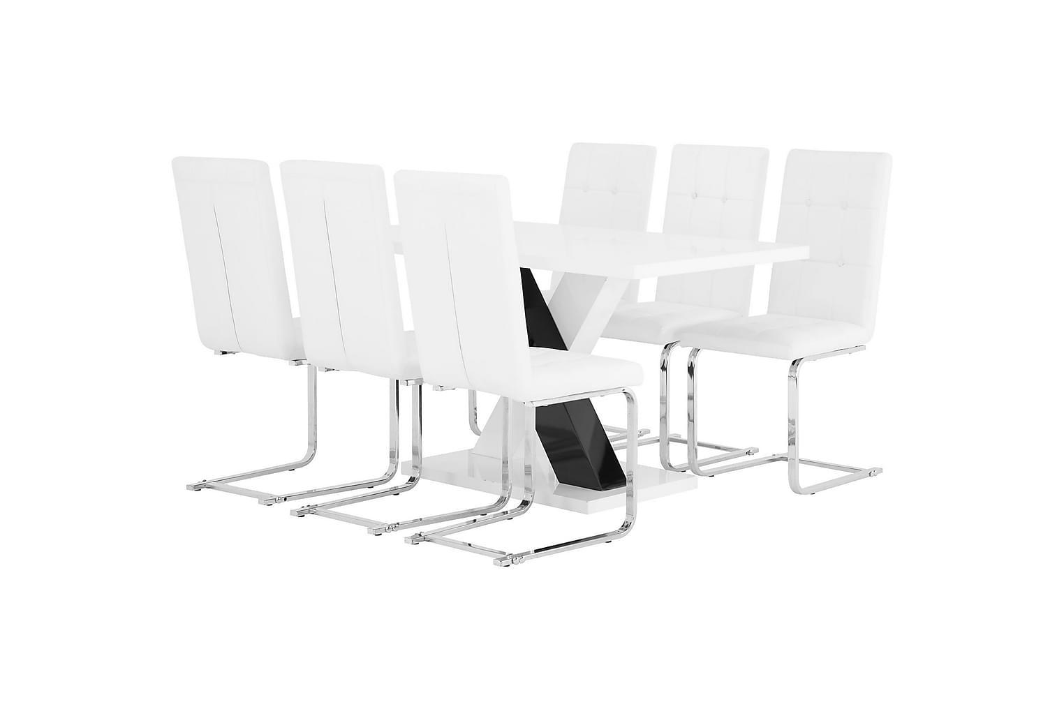 ESSUNGA Pöytä 140 + 6 ARVÅN Tuolia Valkoinen