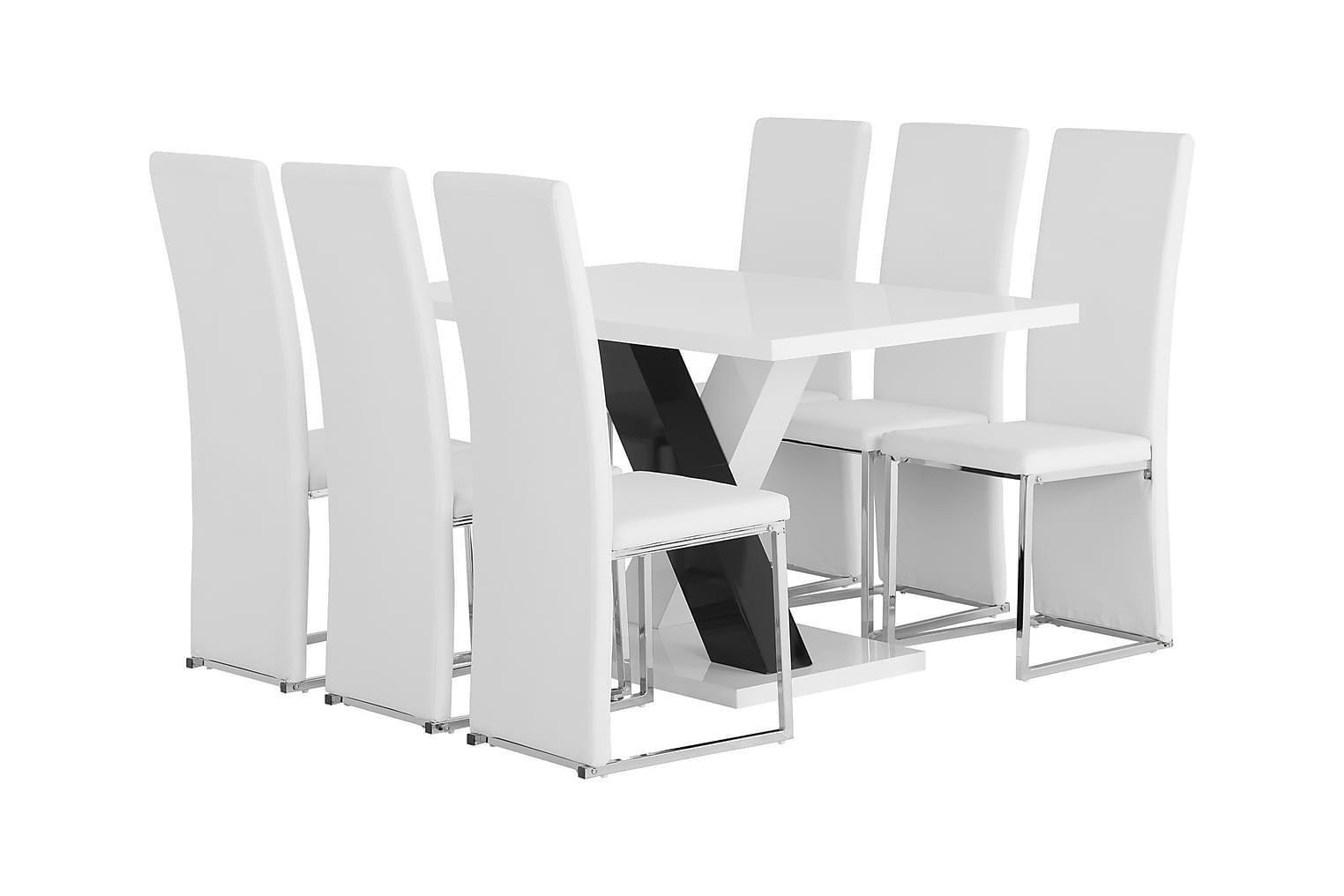 ESSUNGA Pöytä 140 + 6 BILLAN Tuolia Valkoinen