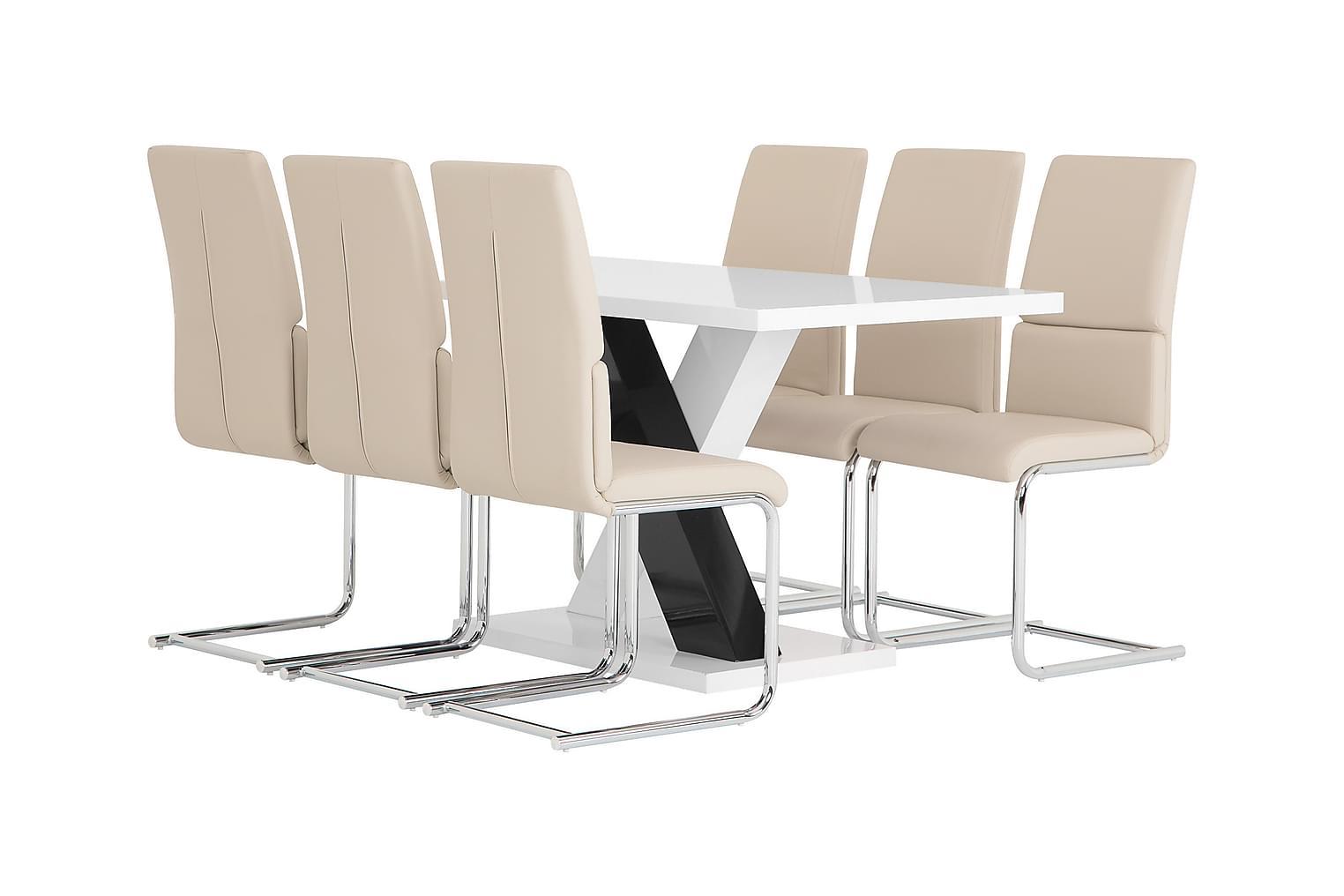 ESSUNGA Pöytä 140 Valkoinen + 6 TYSAN Tuolia Beige