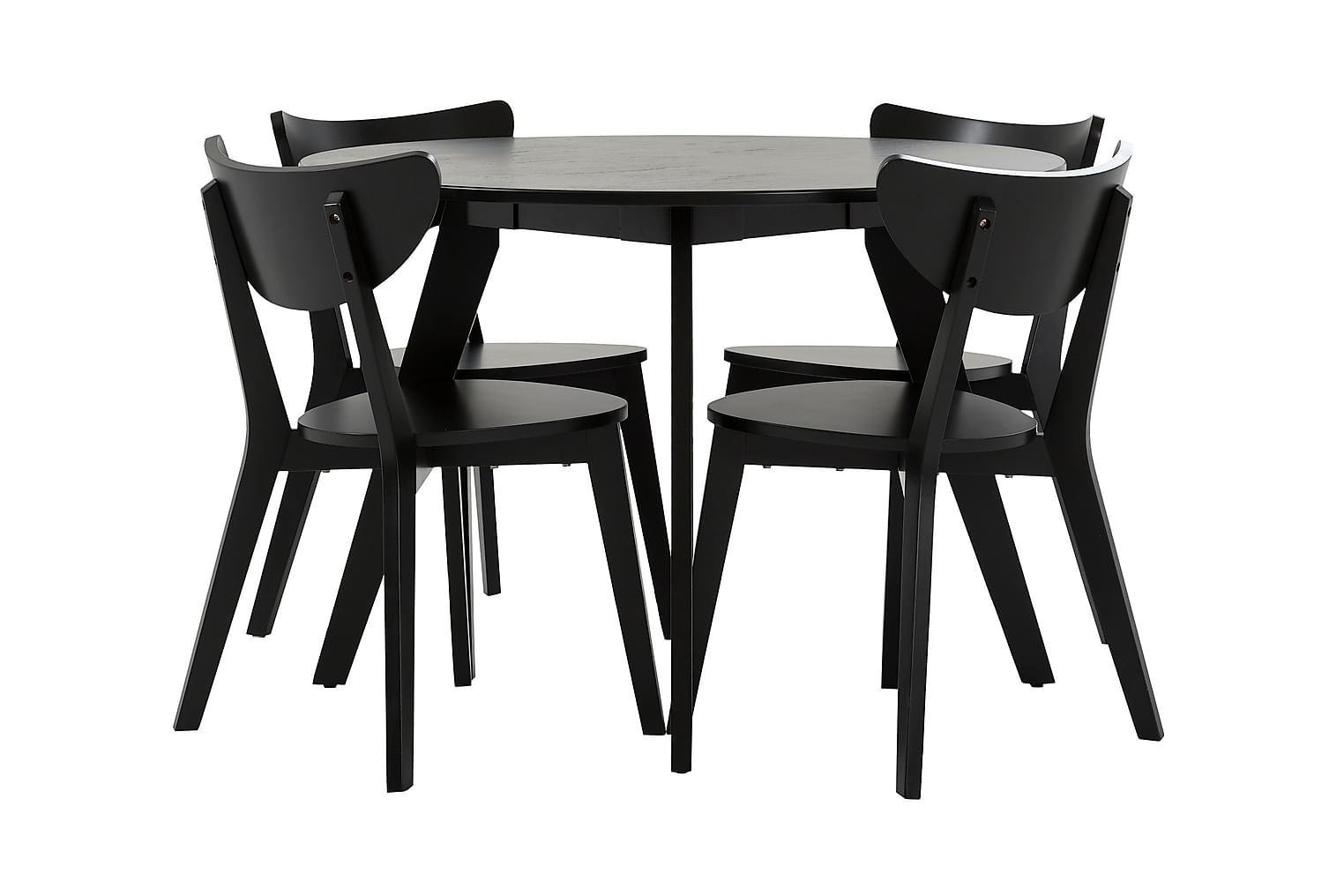 FAGERSTRÖM Pöytä 110 Musta + 4 Tuolia Musta