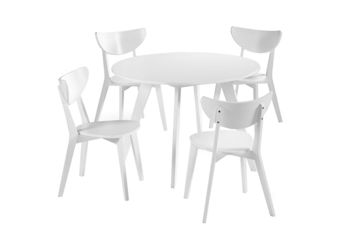FAGERSTRÖM Pöytä 110 Valkea + 4 Tuolia Valkea