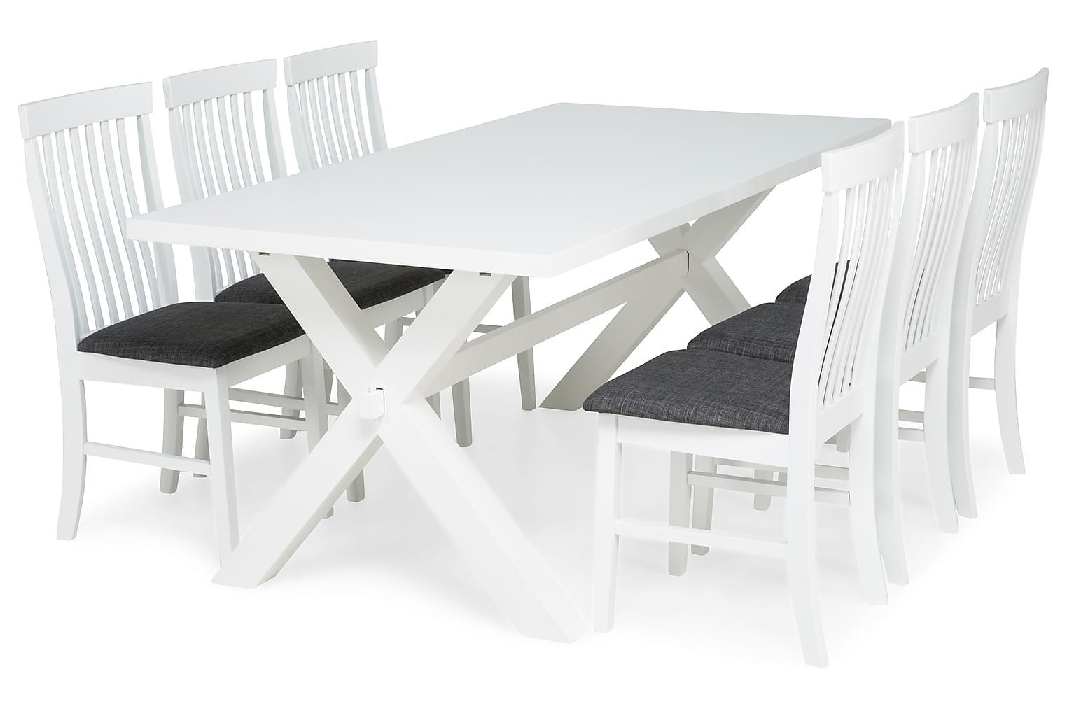 FRESNO Pöytä 200 Valkoinen + 6 MAURICE Tuolia Valkoinen/Harm