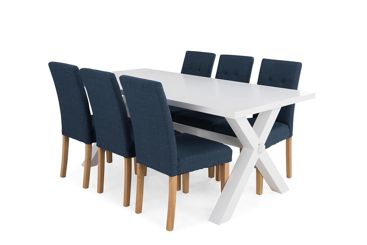 FRESNO Pöytä + 6 STILO Tuoli Valkoinen/Sininen/Tammi