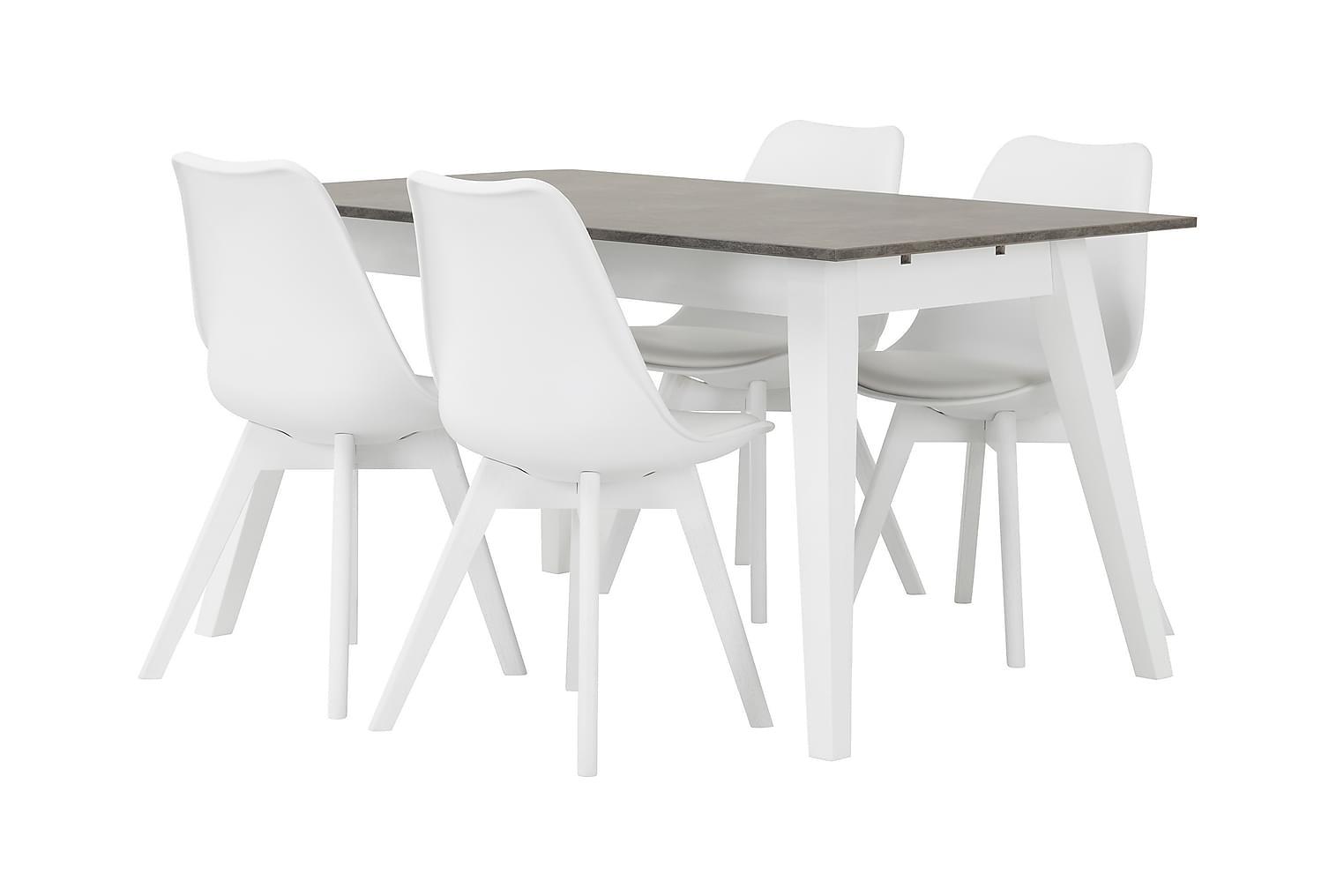 GRIMSTAD Pöytä 140 Betoni/Valkoinen + 4 PEACE Tuoli Valkoine