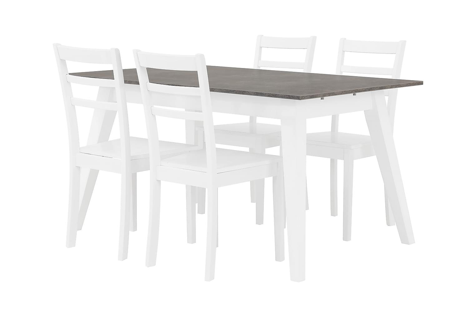 GRIMSTAD Pöytä 140 Betoni/Valkoinen + 4 SJÖBERG Tuoli Valkoi