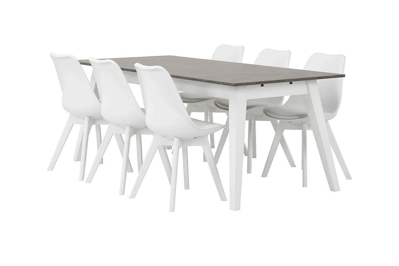 GRIMSTAD Pöytä 190 Betoni/Valkoinen + 6 PEACE Tuoli Valkoine