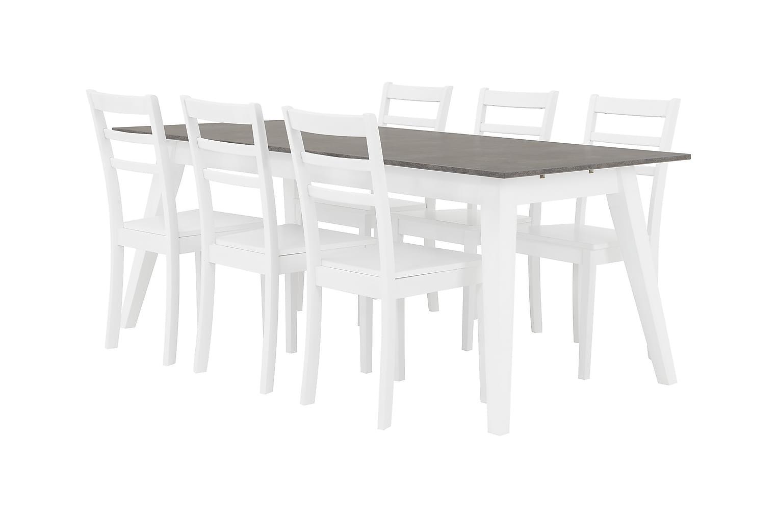 GRIMSTAD Pöytä 190 Betoni/Valkoinen + 6 SJÖBERG Tuoli Valkoi