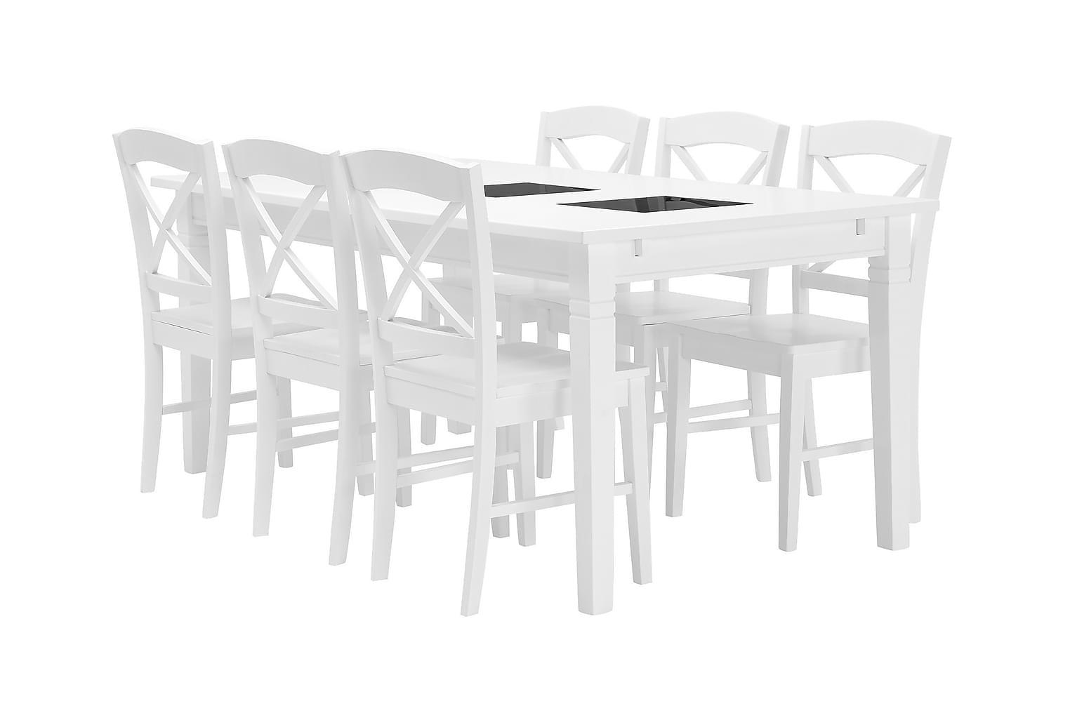HALMSTAD pöytä 180 Valkea + 6 BRÖMSEBO Tuoli Valkea
