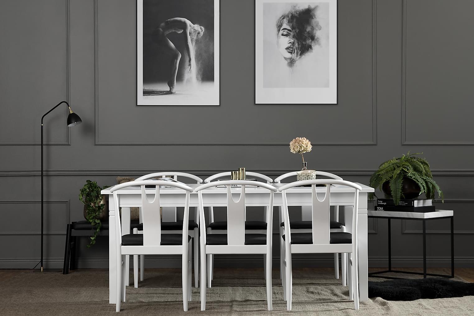 HALMSTAD Pöytä 180 Valkoinen + 6 HUGO Tuoli Valkoinen/Musta