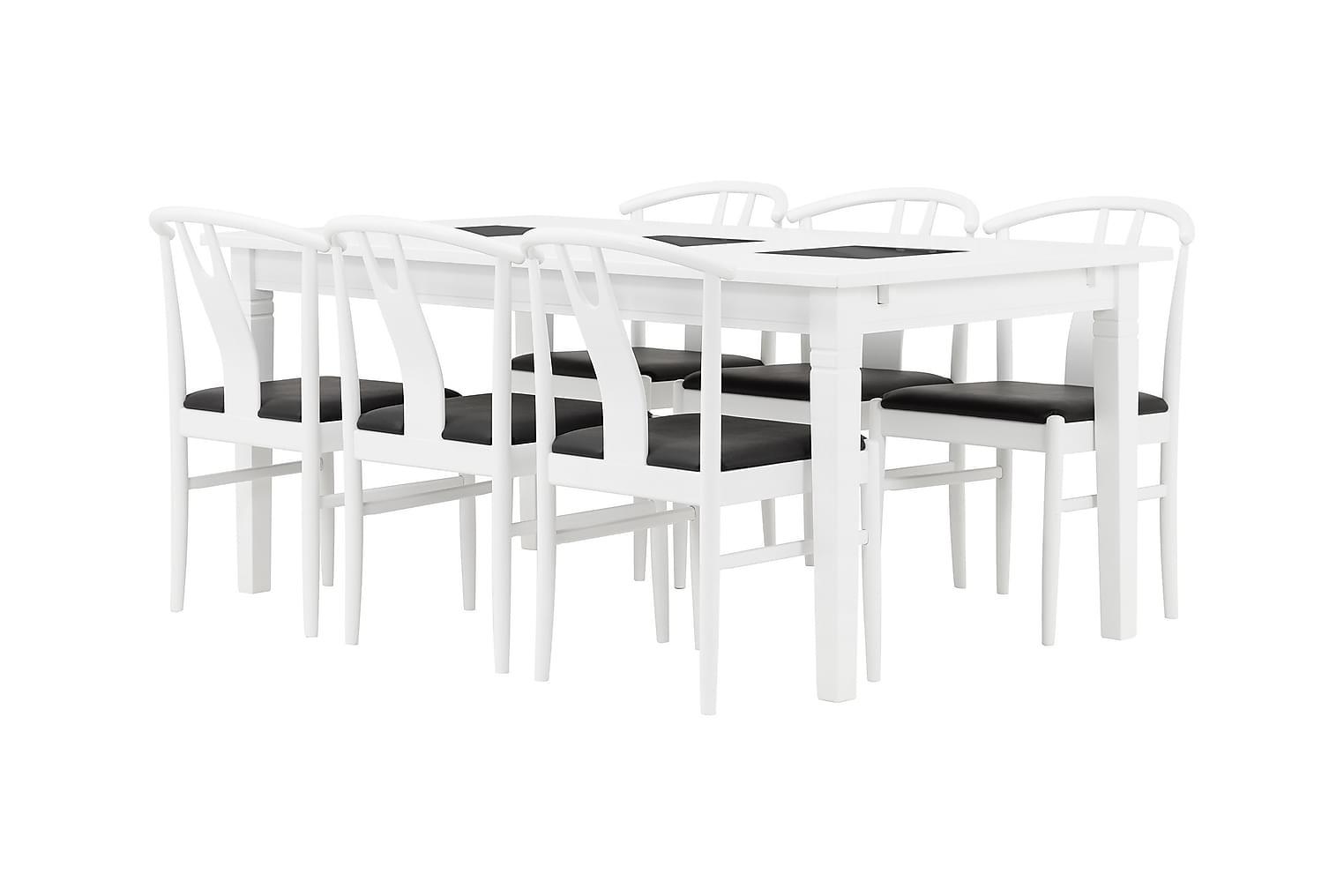 HALMSTAD Pöytä 180 Valkoinen + 6 HUGO Tuolia Valkoinen/musta