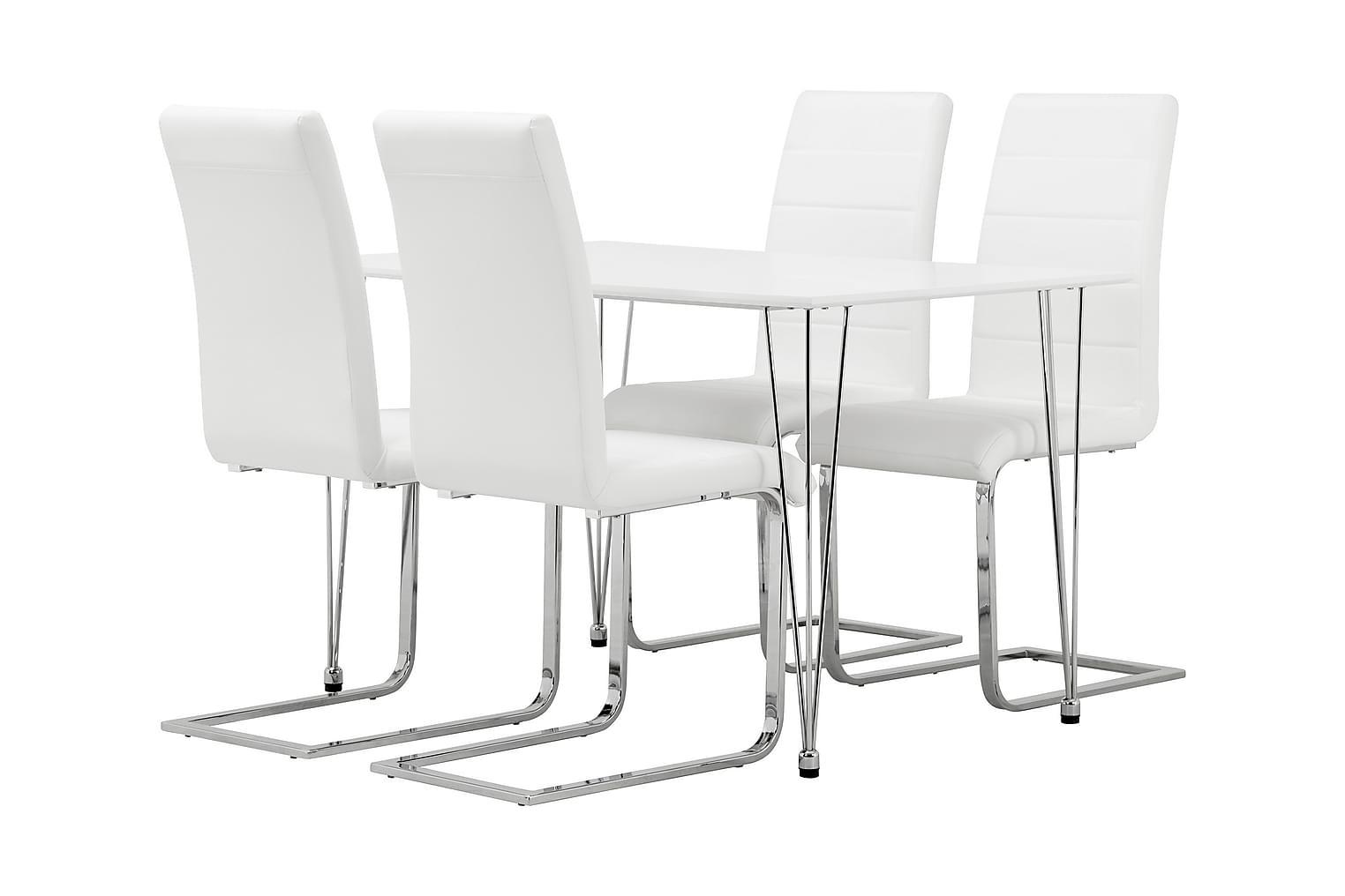 KRONBERG Pöytä 120 + 4 EMÅN tuolia Valkoinen