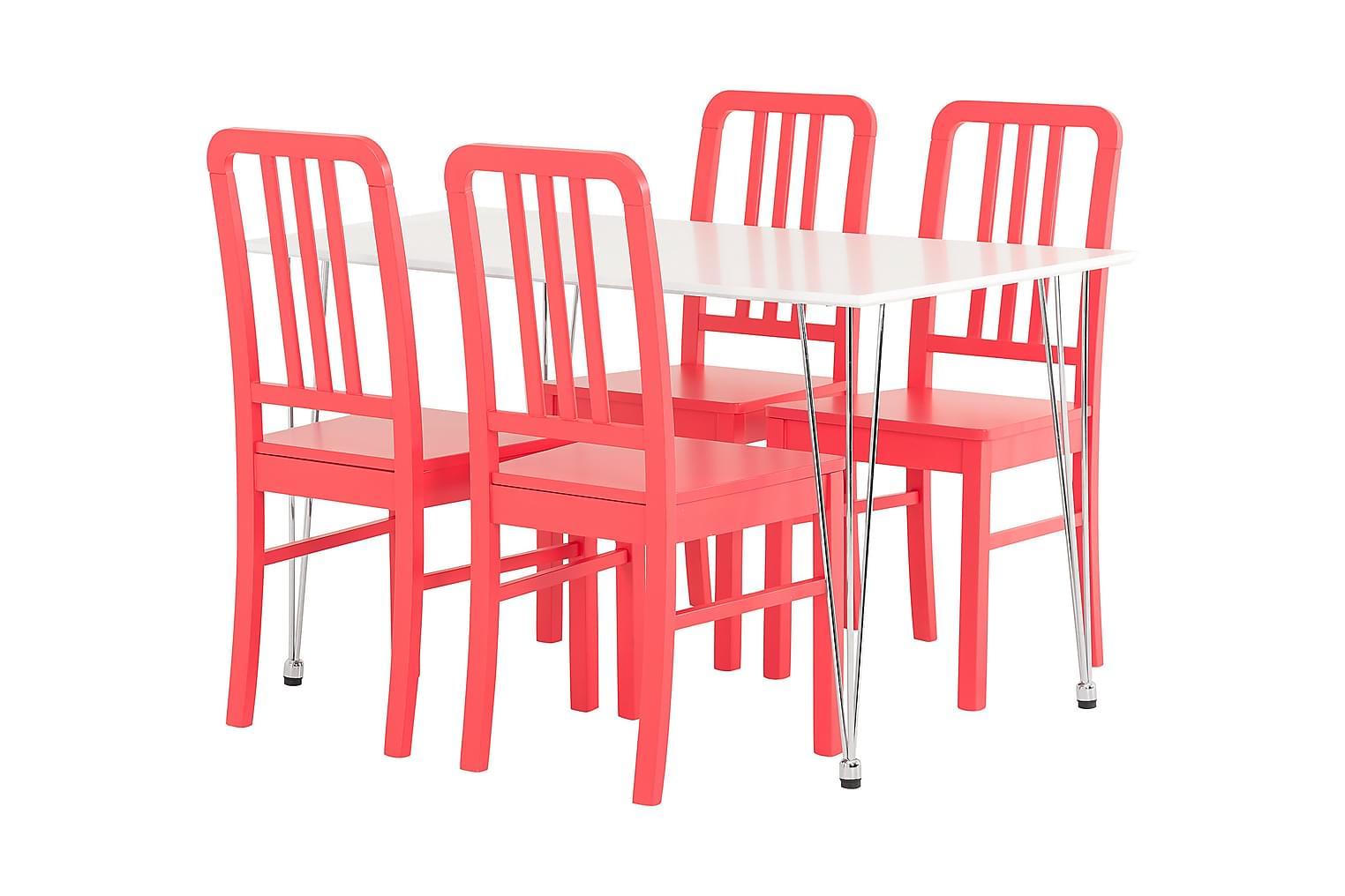 KRONBERG Pöytä 120 Matta + 4 EVELINA Tuolia Punainen