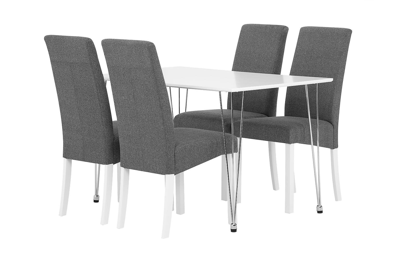 KRONBERG Pöytä 120 Matta + 4 FALUN Tuolia Harmaa/Valkoinen