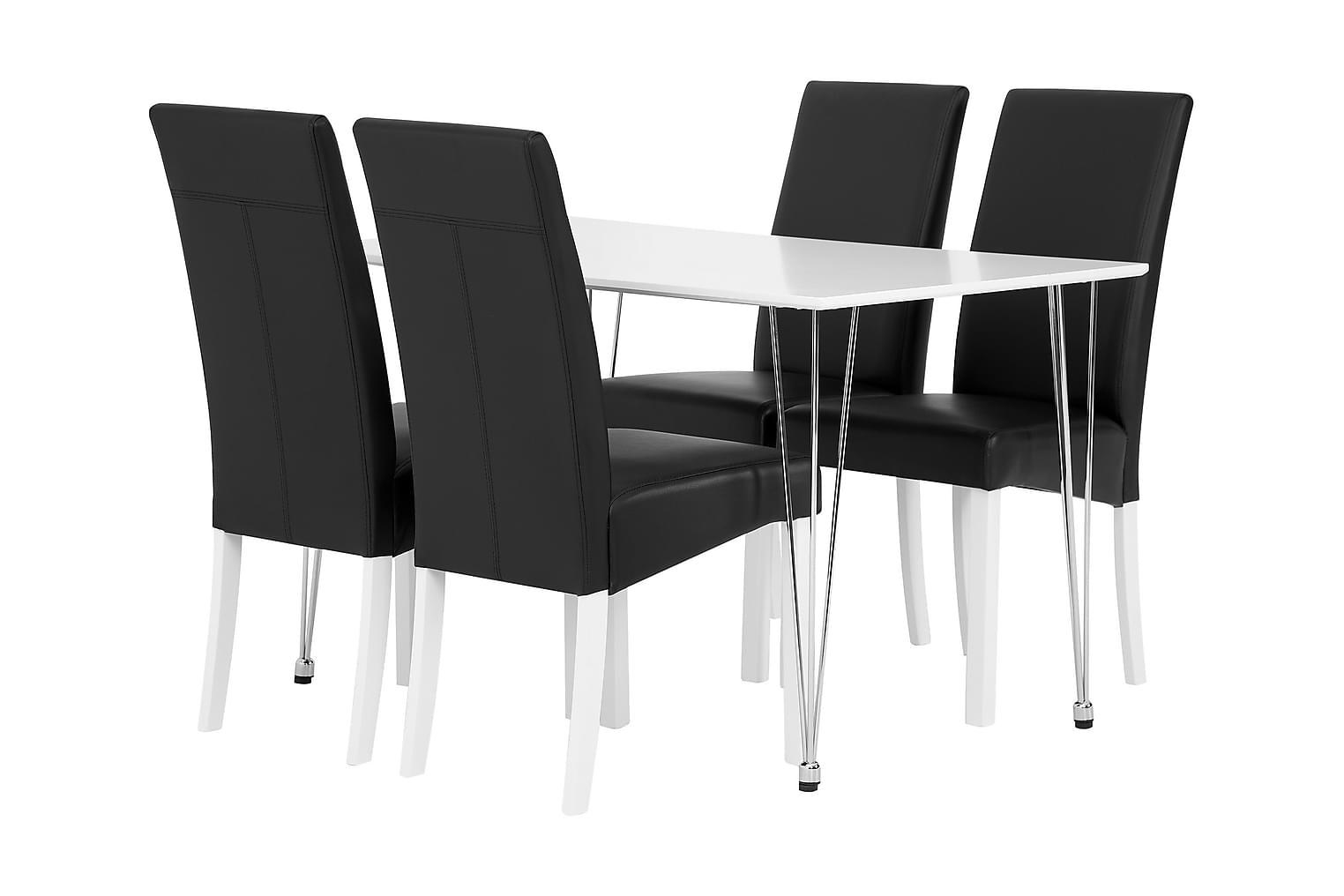 KRONBERG Pöytä 120 Matta + 4 FALUN Tuolia Musta/Valkoinen