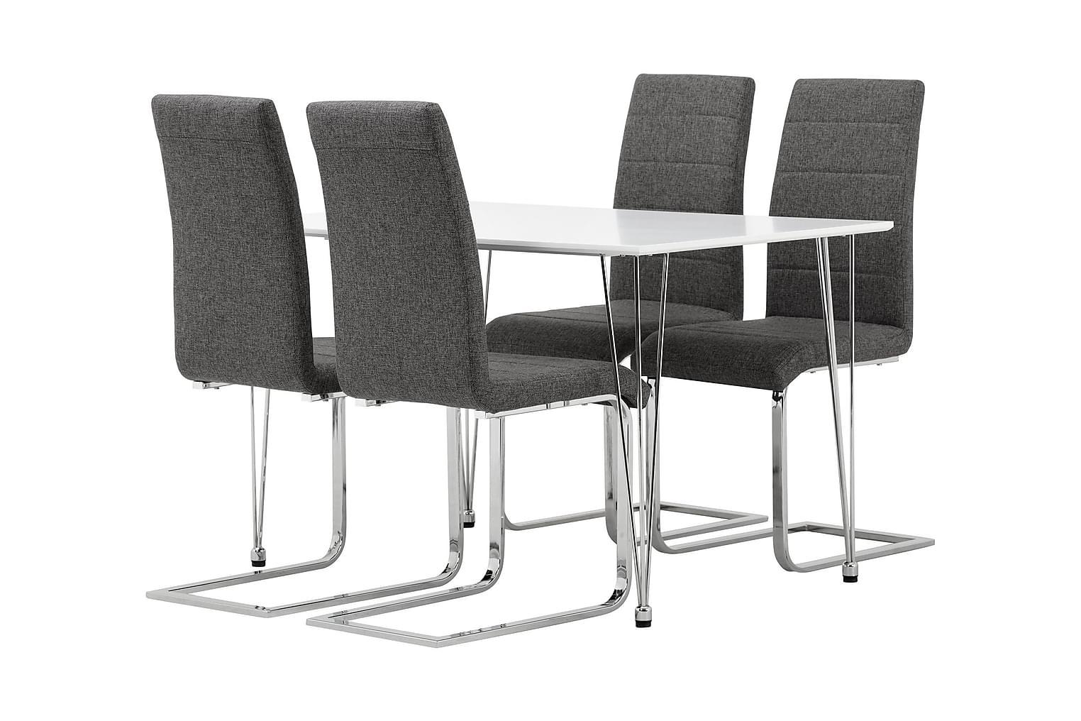 KRONBERG Pöytä 120 Valk + 4 EMÅN tuolia Harmaa