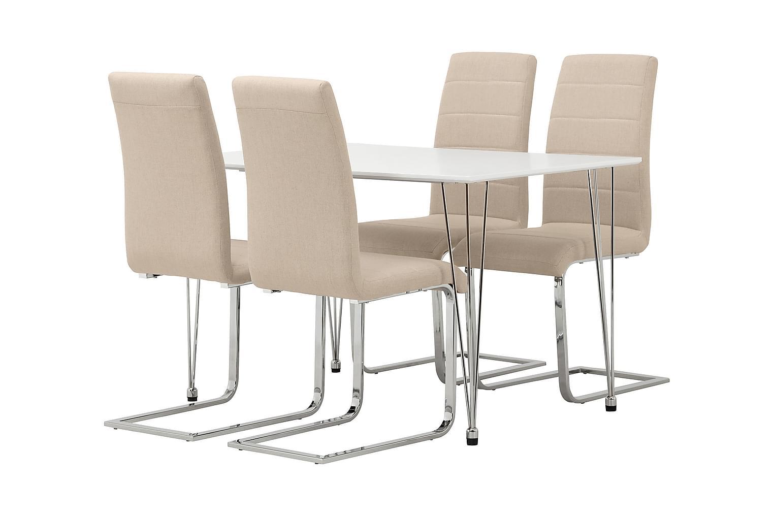 KRONBERG Pöytä 120 Valkoinen + 4 EMÅN Tuolia Beige