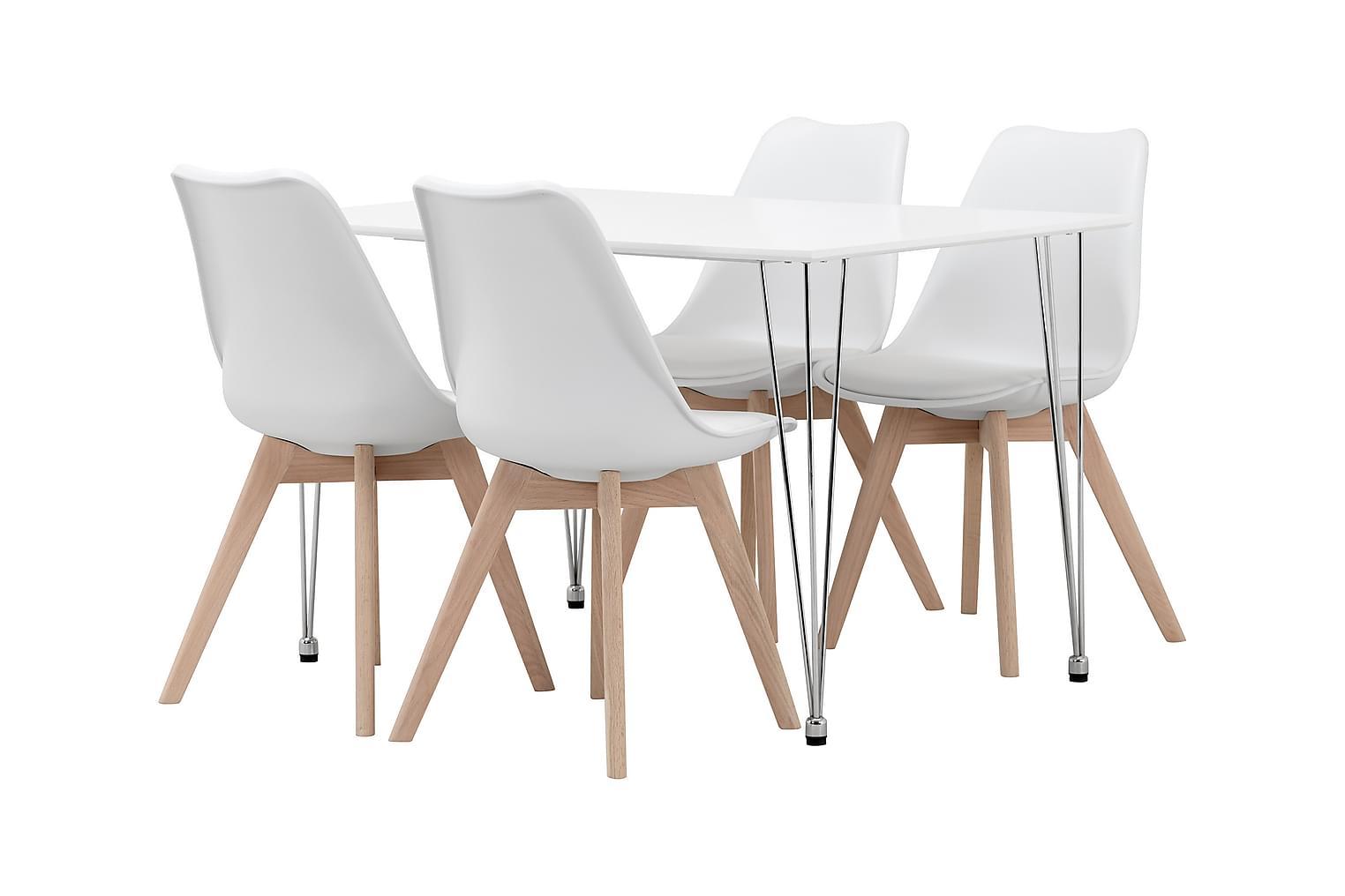 KRONBERG Pöytä 120 Valkoinen + 4 PEACE Valkoinen/tammi