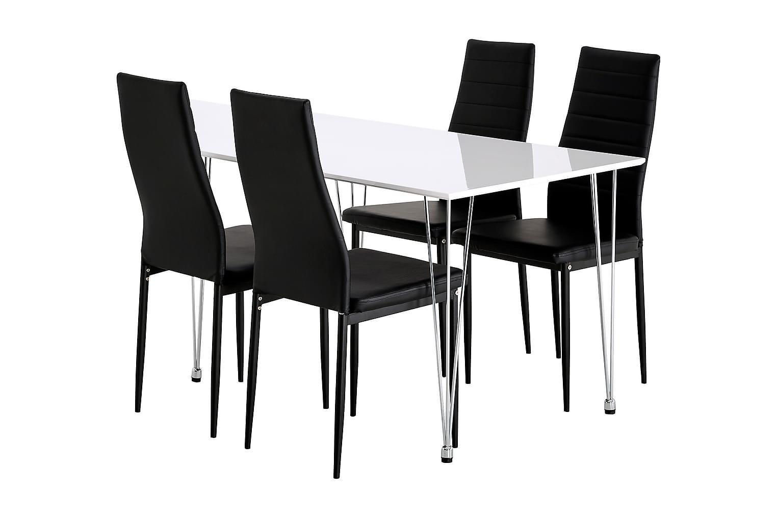 KRONBERG Pöytä 120 Valkoinen Kiiltävä + 4 GRANÅN Tuolia Must