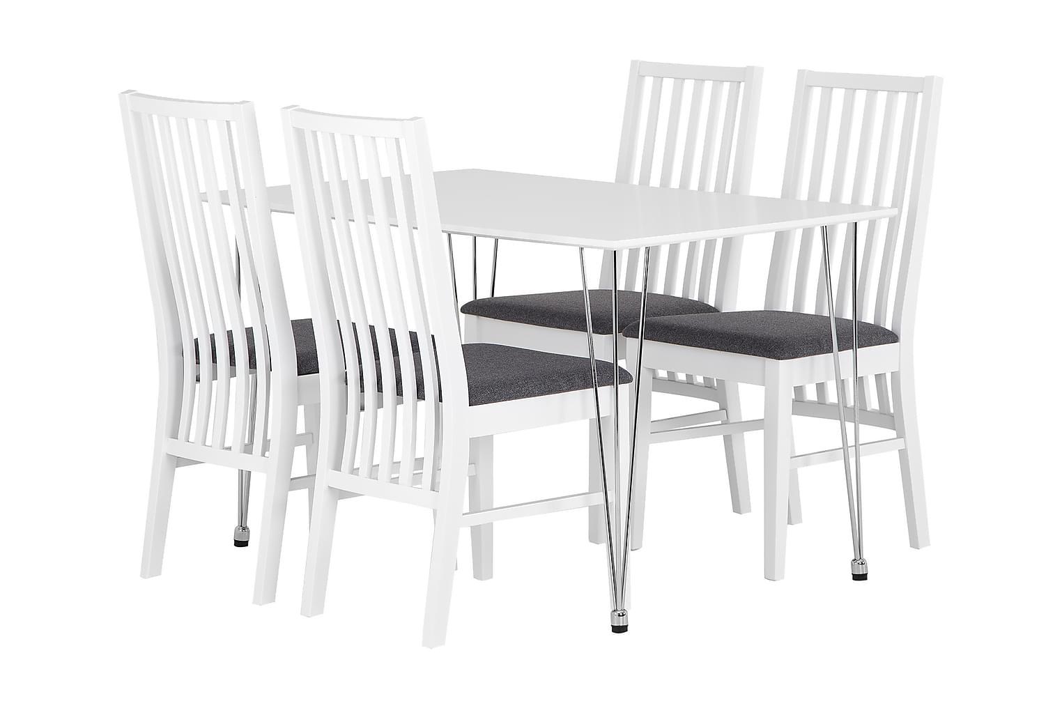 KRONBERG Pöytä 120 Valkoinen Matta + 4 ALVESTA Valkoinen/Har