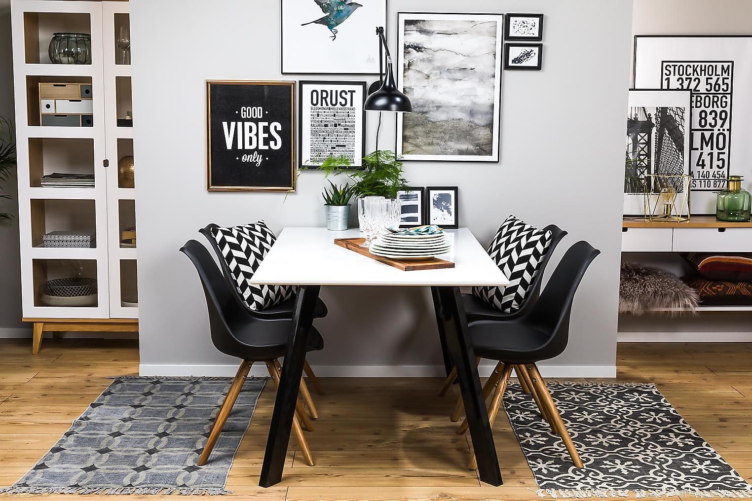 LADY Pöytä 150 Valkoinen/Musta + 4 MARION Tuolia Musta