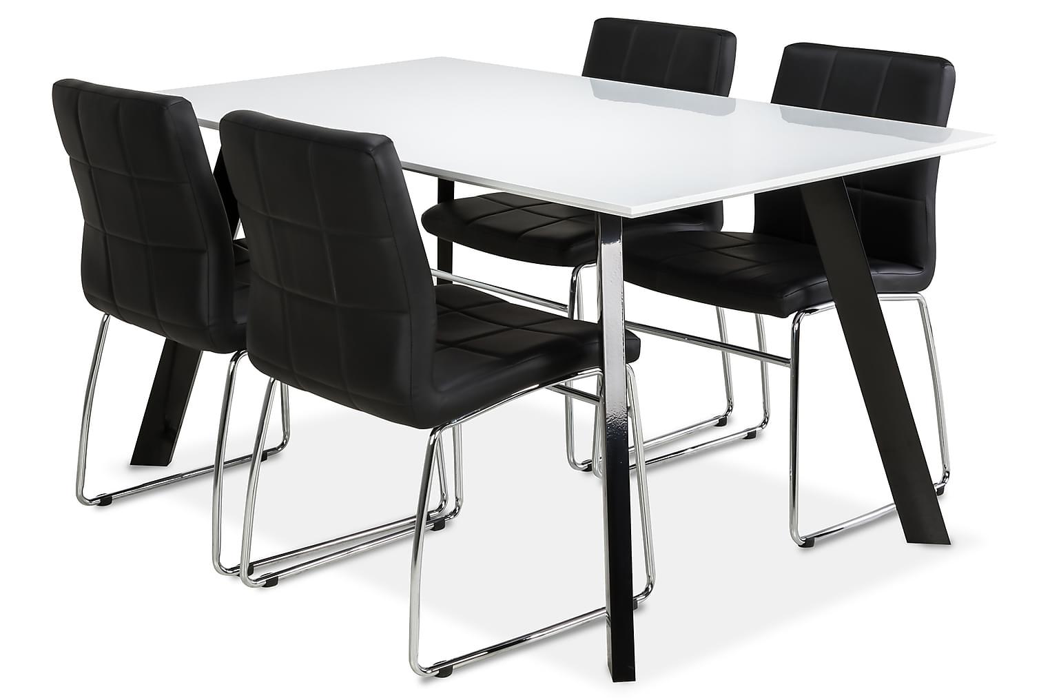 LADY Pöytä 150 Valkoinen/Musta + 4 PROVO Tuolia Musta
