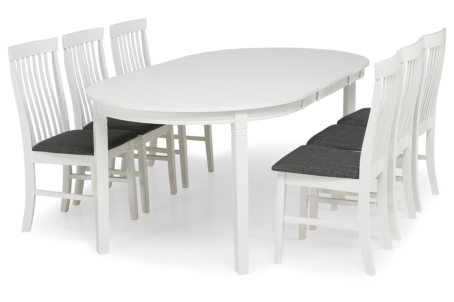 LEVIDE Pöytä 150 + 6 MAURICE Tuolia Valkoinen/Harmaa