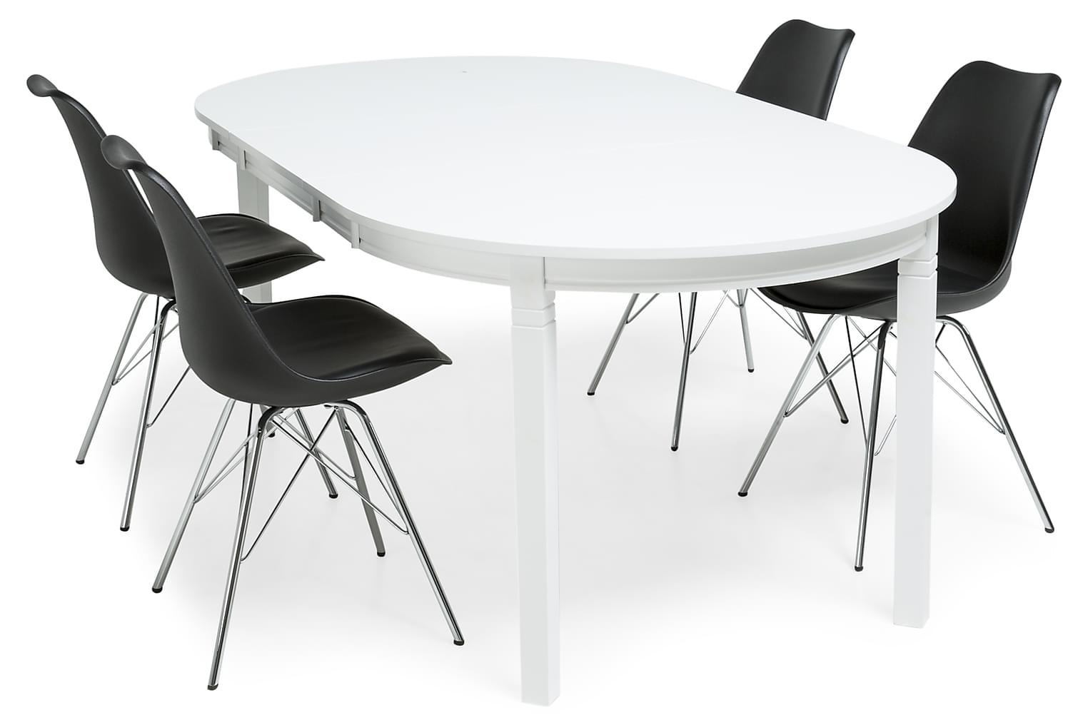 LEVIDE Pöytä 150/195 Valkoinen + 4 ZENIT Tuolia Musta