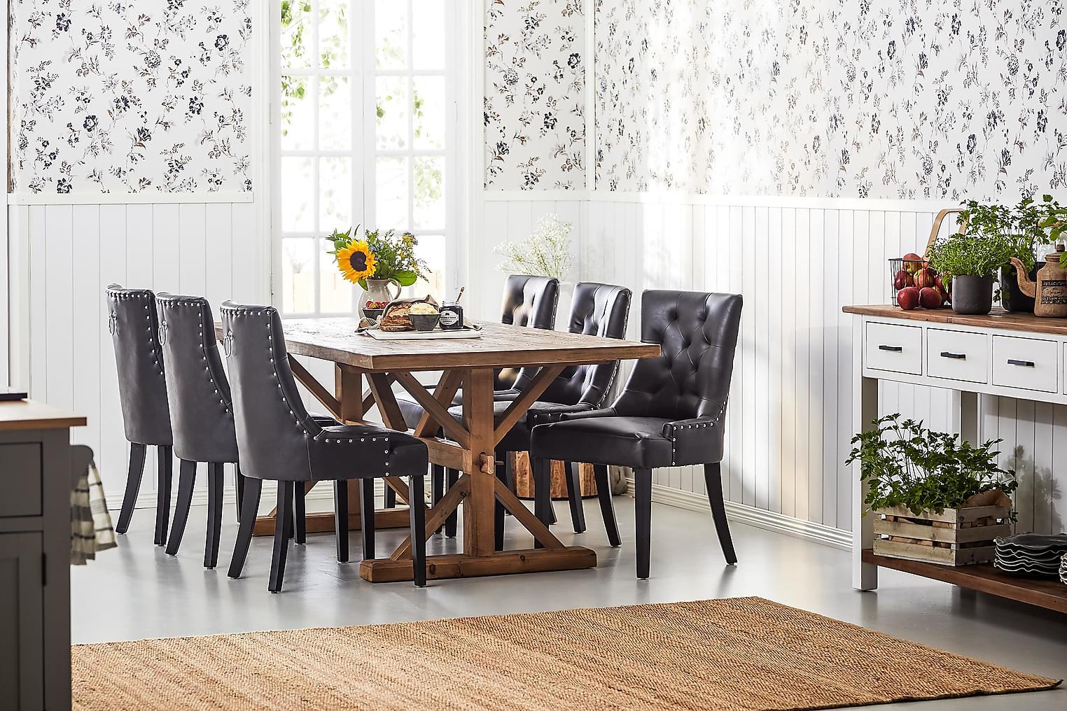 LIRE Pöytä 200 Luonnonväri + 6 CARMINE tuolia Musta