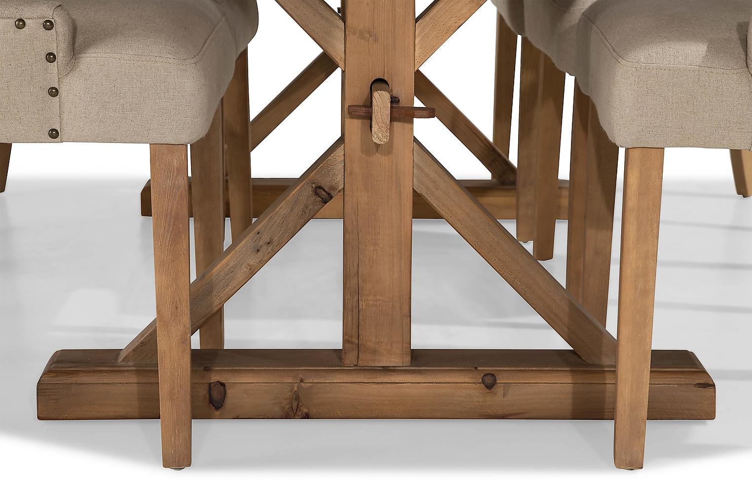LIRE Pöytä 200 Luonnonväri + 6 COLFAX tuolia Beige