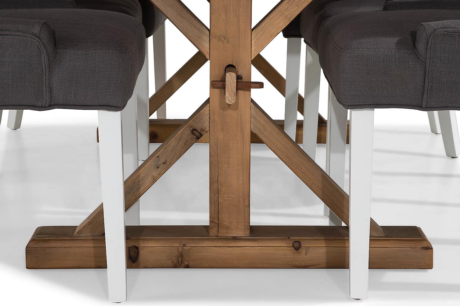 LIRE Pöytä 200 Luonnonväri + 6 COLFAX tuolia Harmaa/Valk
