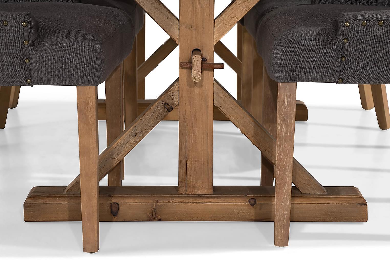 LIRE Pöytä 200 Luonnonväri + 6 COLFAX tuolia Harm/Luonnonv