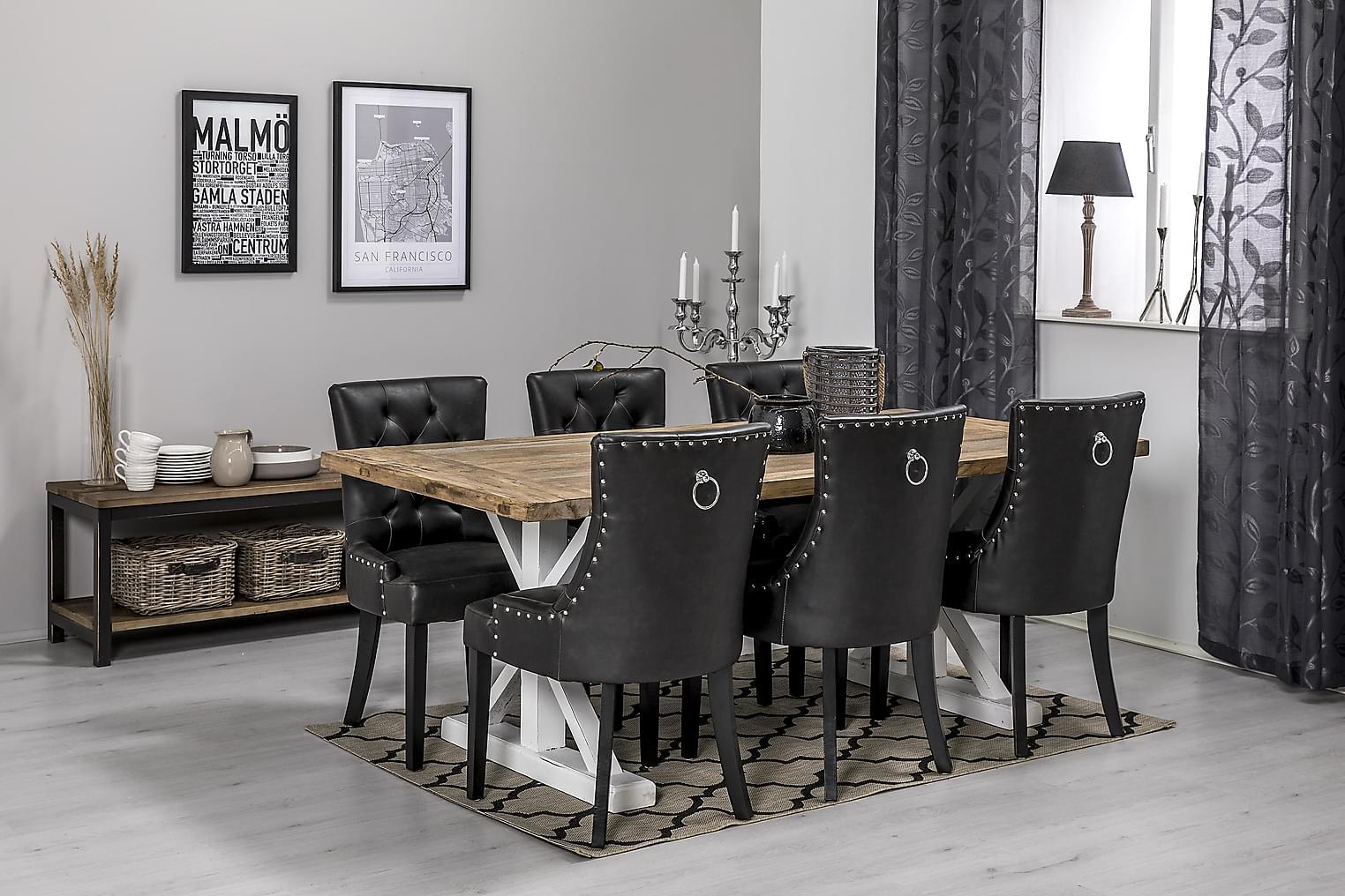 LIRE Pöytä 200 Luonnonväri/Valkoinen + 6 CARMINE Nojatuolia
