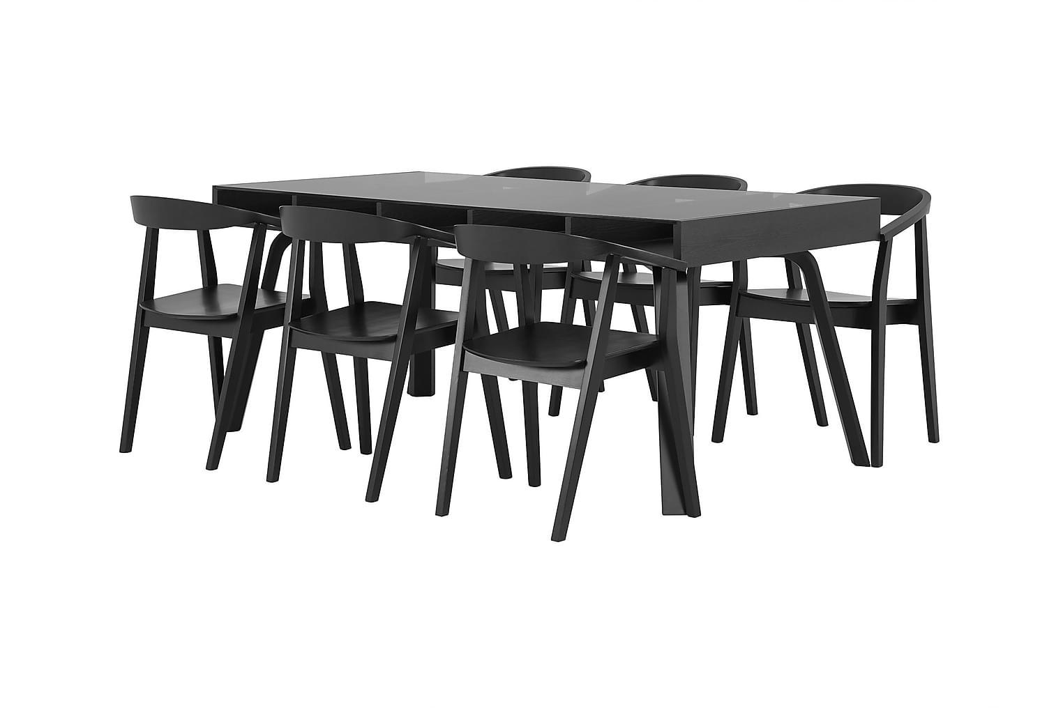 LORELEI Pöytä 183 Musta + 6 DAYTONA Tuolia Musta