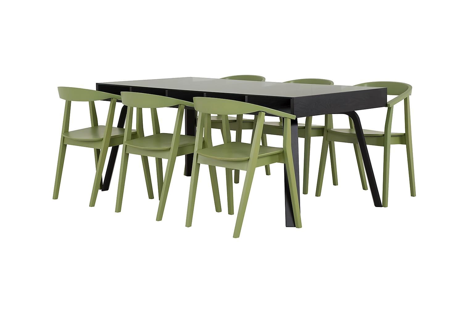 LORELEI Pöytä 183 Musta + 6 DAYTONA Tuolia Vihreä