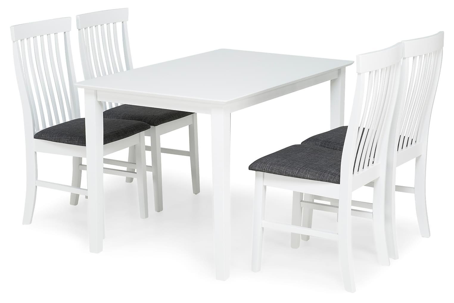 MELROSE Pöytä 120 Valkoinen + 4 MAURICE Tuolia Valkoinen/Har