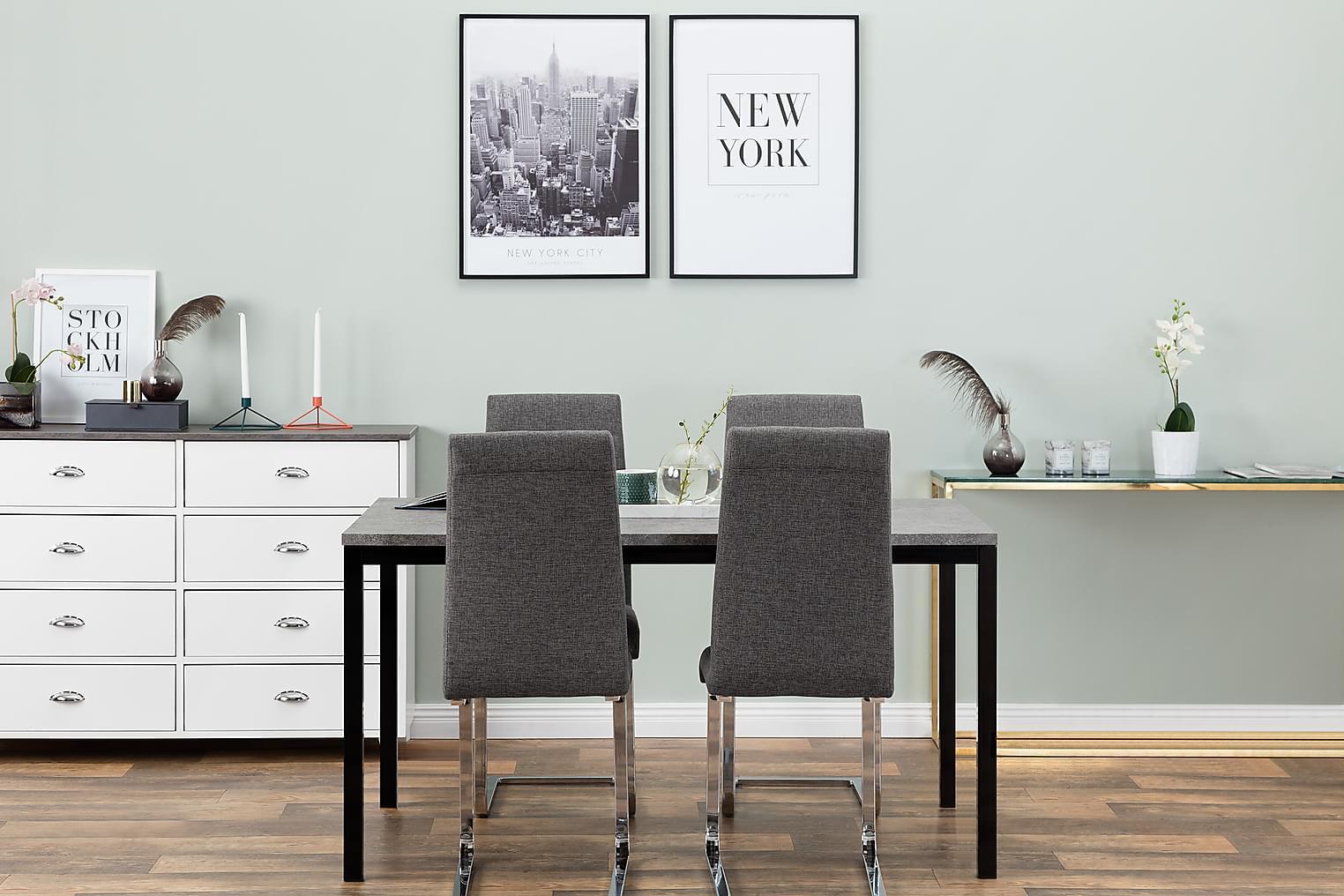 MITA Pöytä 140 Betoni/Musta + 4 EMÅN Tuoli Harmaa