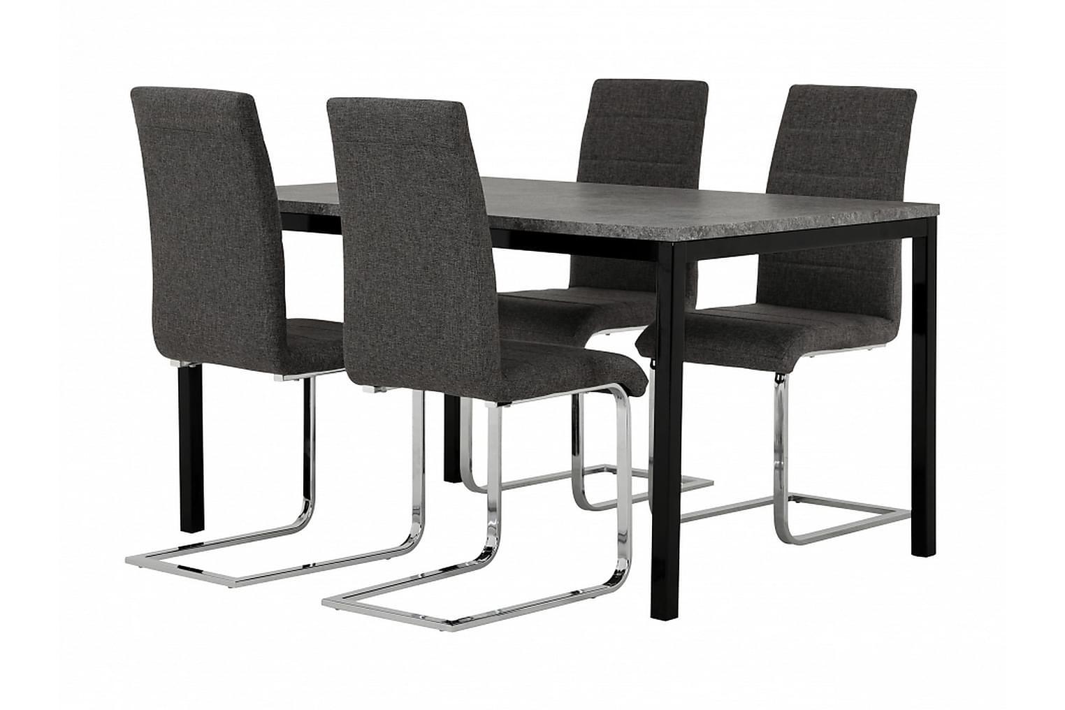 MITA Pöytä 140 Betoni/Musta + 4 EMÅN Tuolia Harmaa