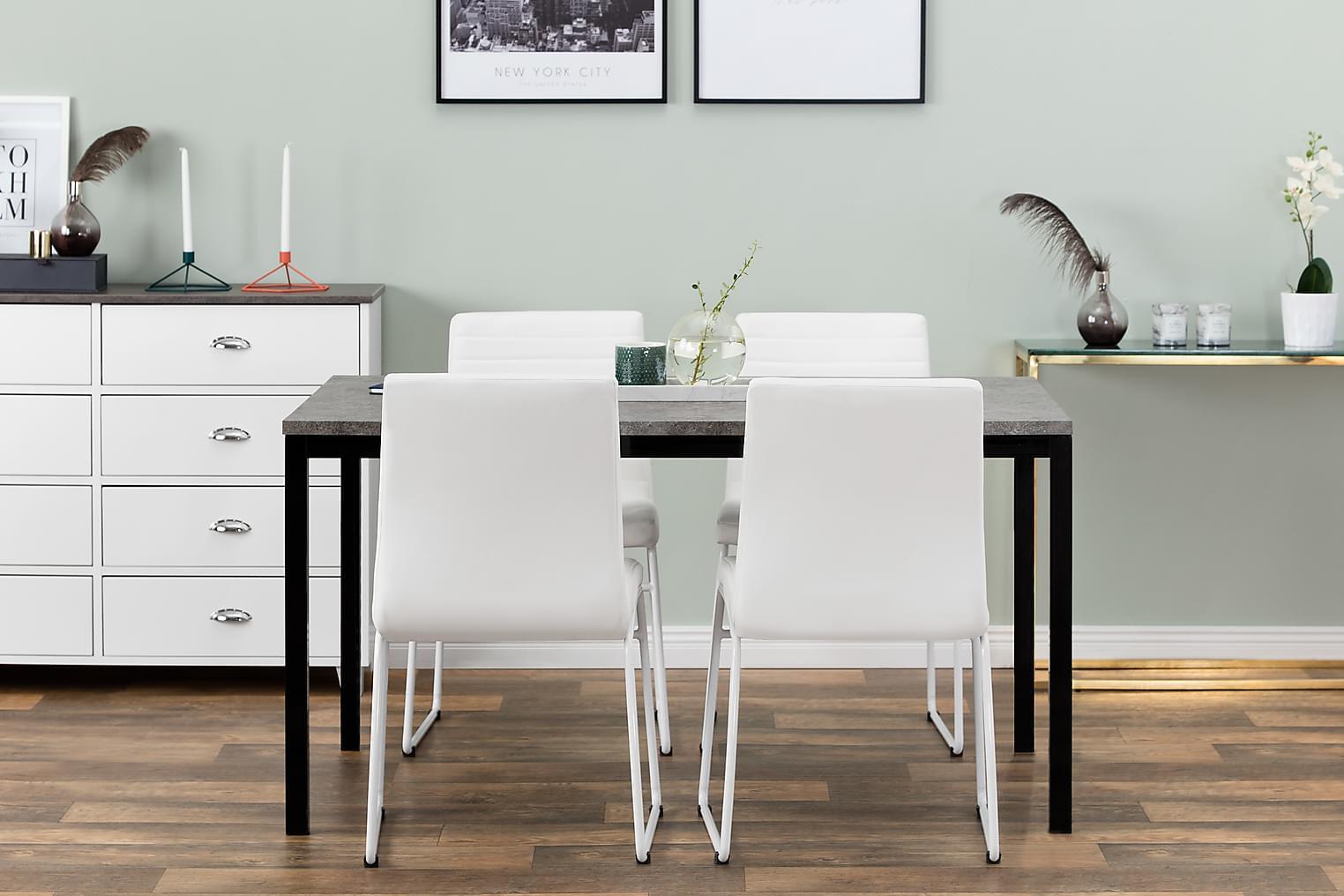 MITA Pöytä 140 Betoni/Musta + 4 FRIO Tuoli Valkoinen