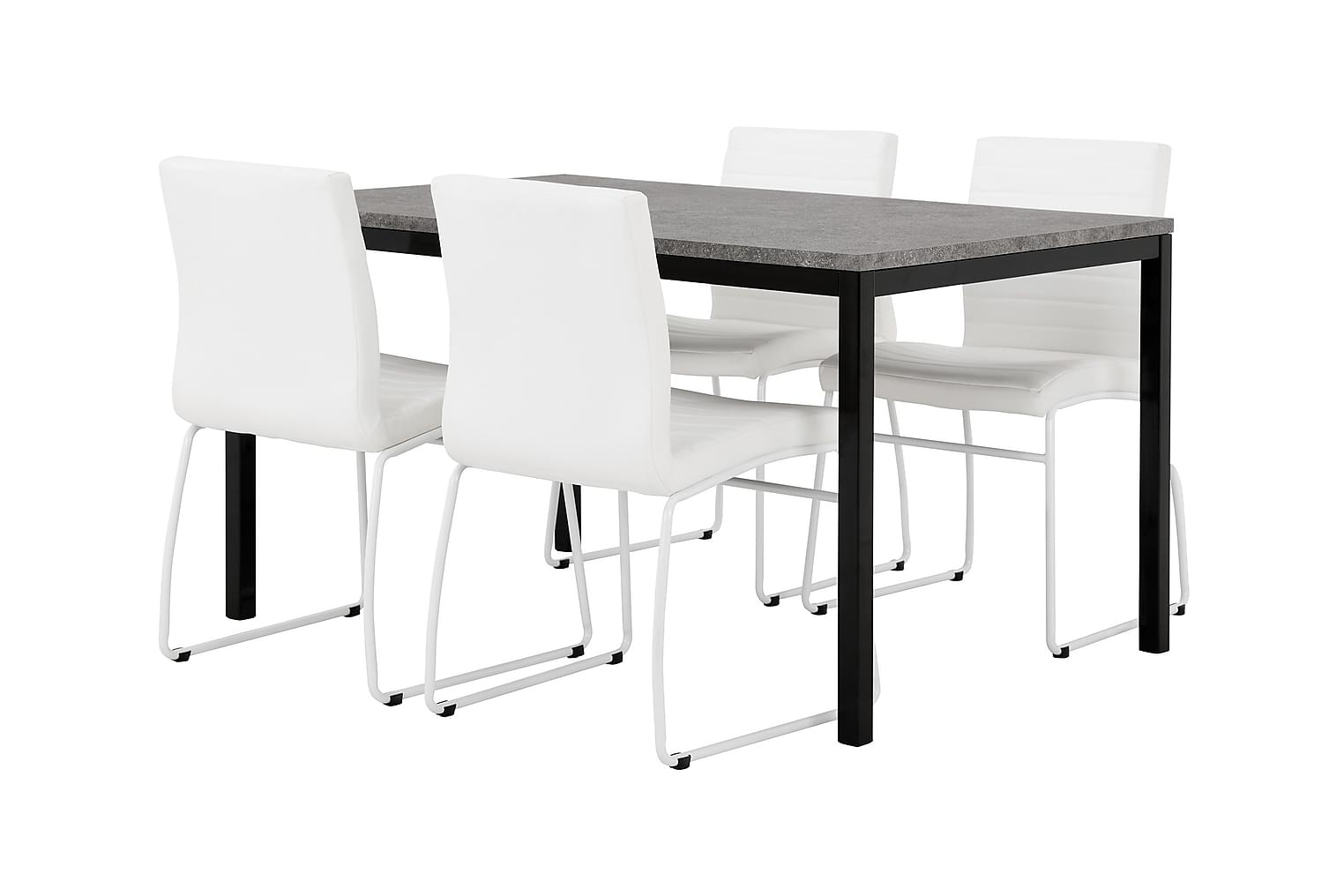 MITA Pöytä 140 Betoni/Musta + 4 FRIO Tuolia Valkoinen
