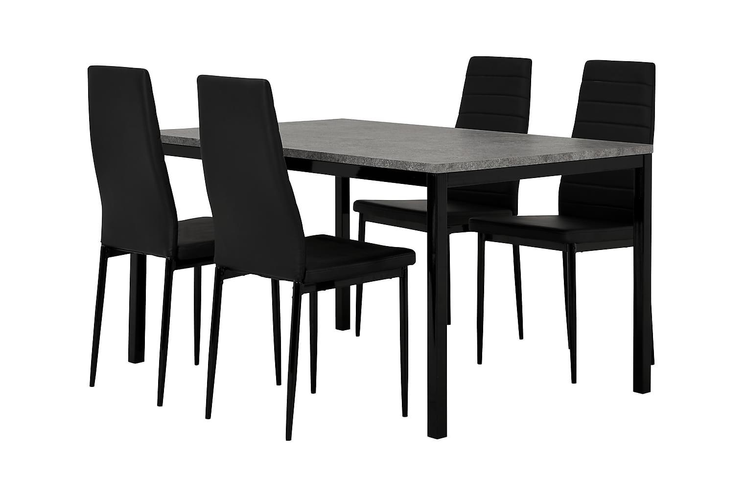 MITA Pöytä 140 Betoni/Musta + 4 GRANÅN Tuolia Musta