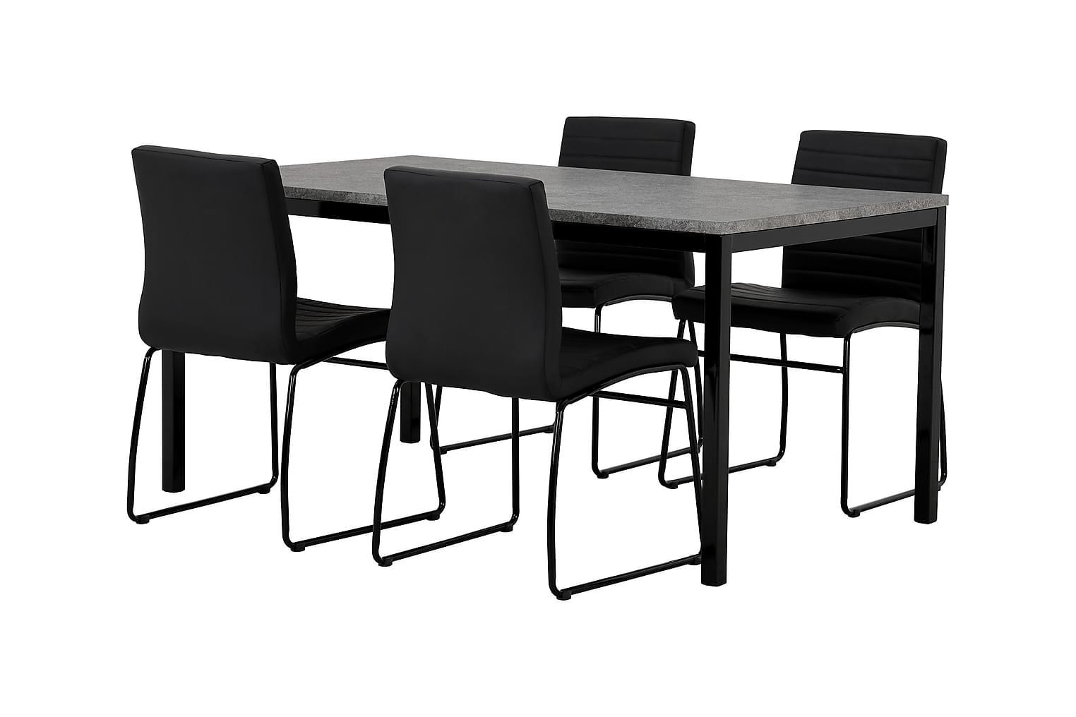 MITA Pöytä 160 Betoni/Musta + 4 FRIO Tuoli Musta