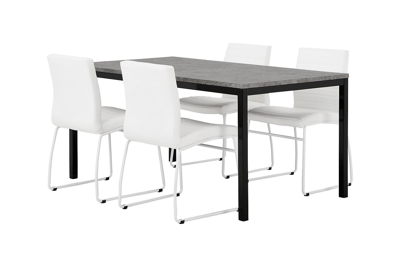 MITA Pöytä 160 Betoni/Musta + 4 FRIO Tuoli Valkoinen