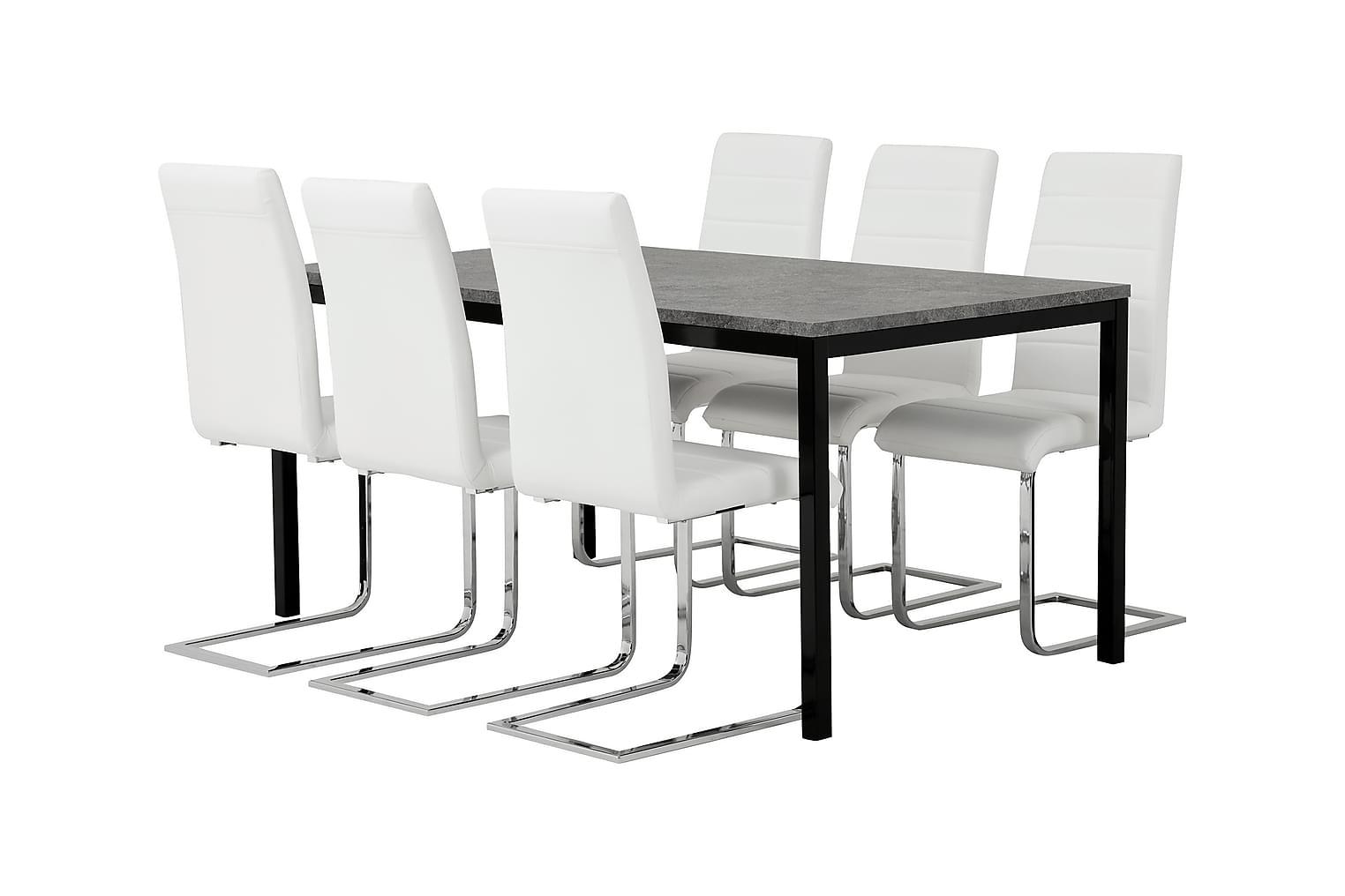 MITA Pöytä 160 Betoni/Musta + 6 EMÅN Tuoli Valkoinen