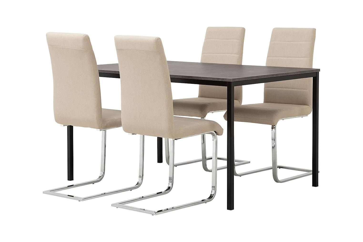 NOOMI Pöytä 138 Harmaa/Musta+ 4 EMÅN Tuolia Beige