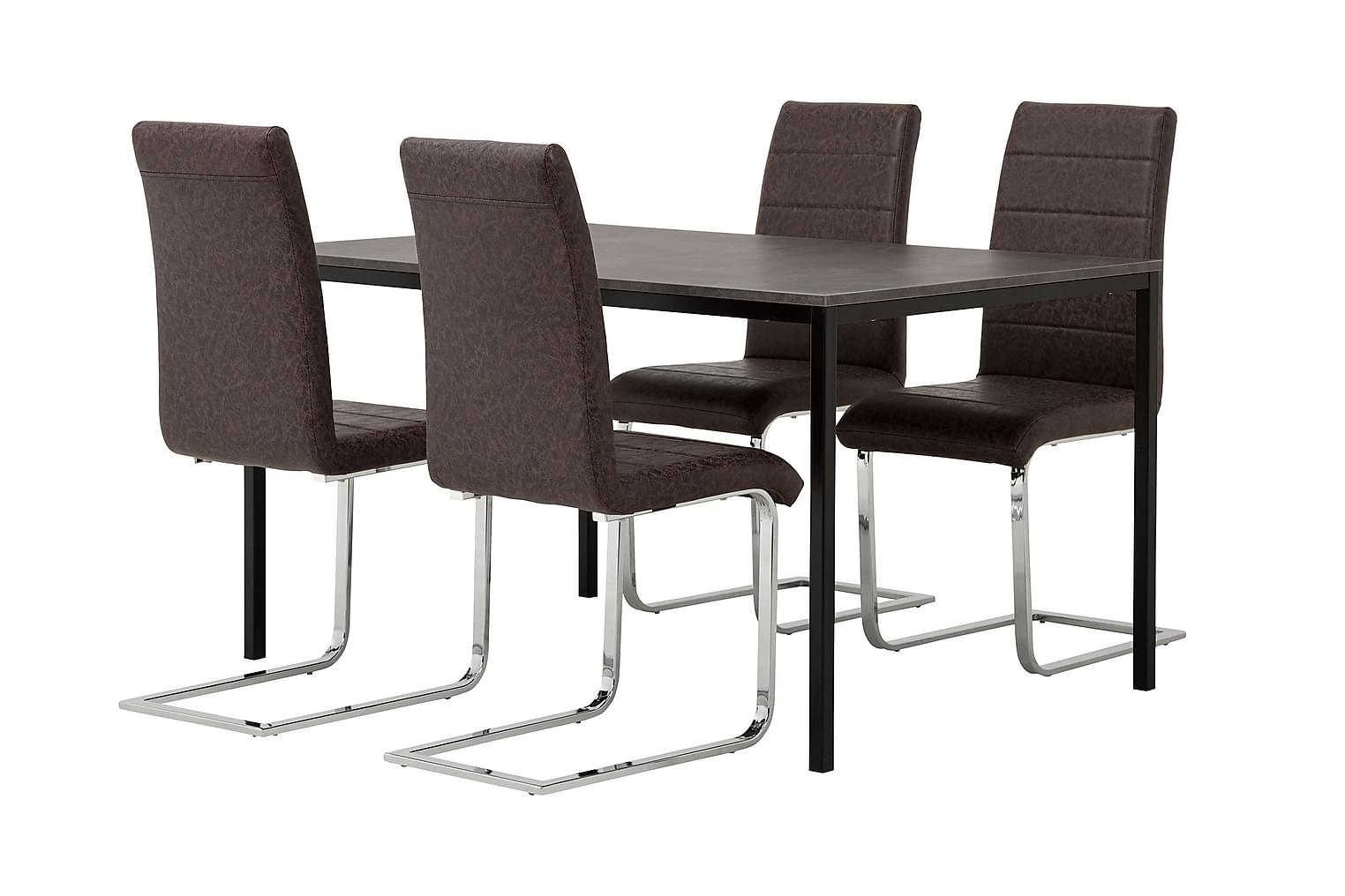 NOOMI Pöytä 138 Harmaa/Musta+ 4 EMÅN Tuolia Tumma antiikki